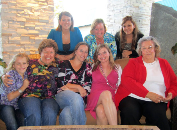 With MomMom (far right) and two of her daughters, Sandi (middle back) and Jen (middle front)