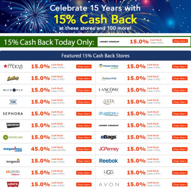 Cash Back Deals - 15th Birthday Sale   Ebates
