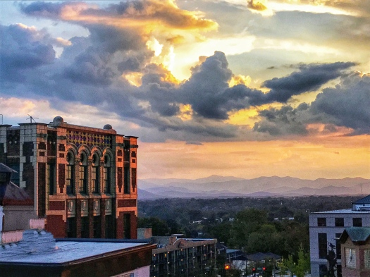 view from the skybar in asheville