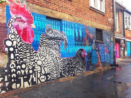 chicken alley mural asheville